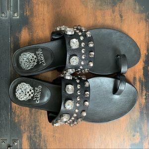 Vince Camuto Black Leather Studded Sandals